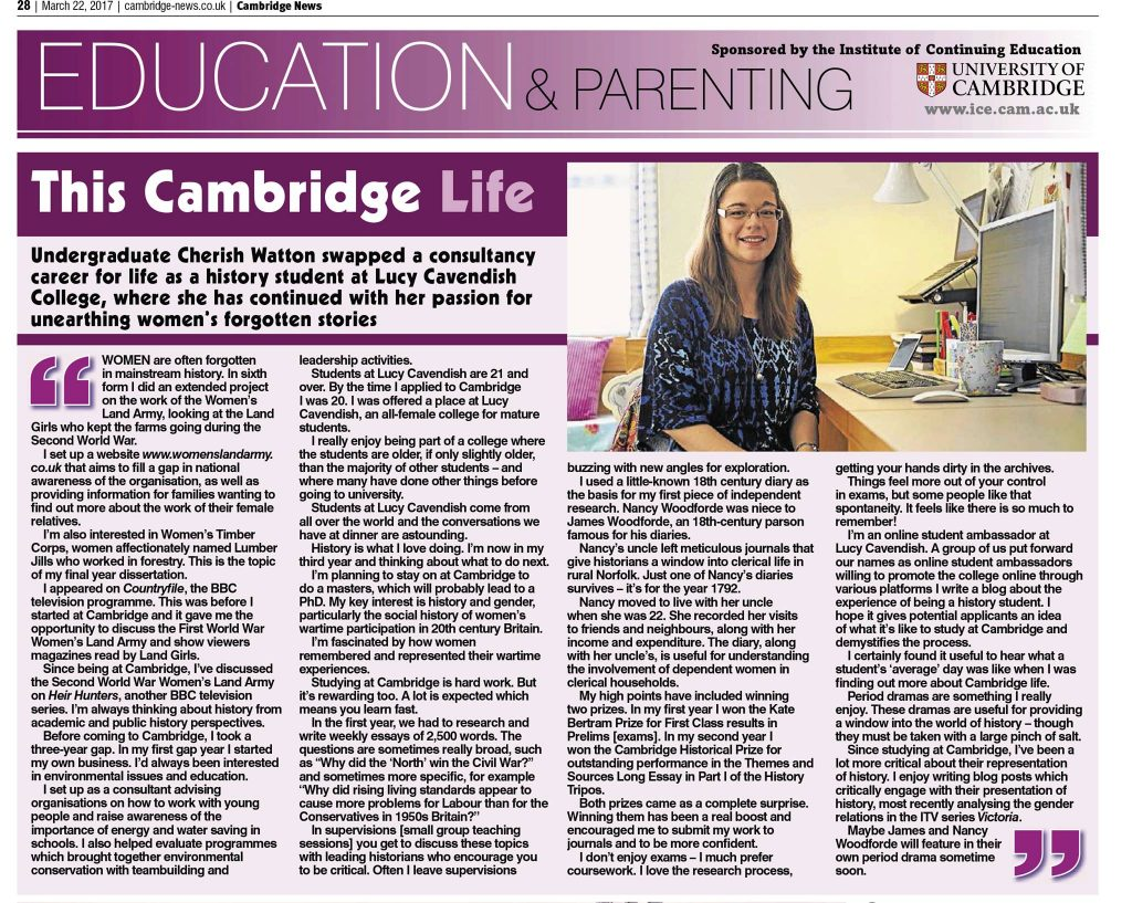 'This Cambridge Life' Cherish Watton